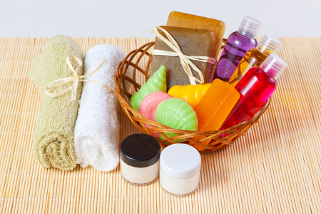 gels: set of body care products - soap, cream and shower gels