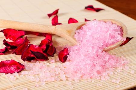 taking bath: sea salt and dry petals for taking bath
