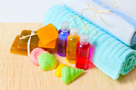 spa still-life: accessories for washing and towels