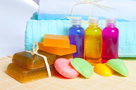 still-life on a theme of spa: accessories for washing and towels Stock Photo