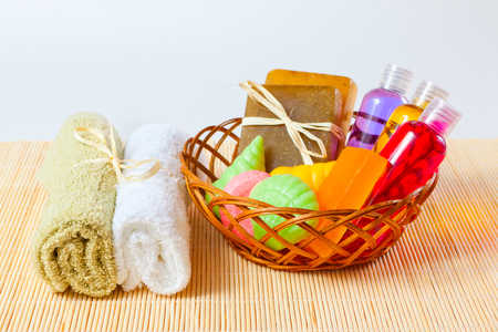 Bathing accessories in the basket and towels