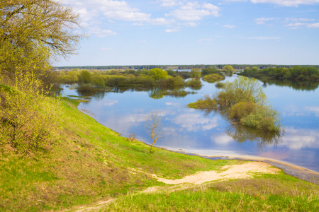 Sunny spring clear day, landscape with river Stock Photo