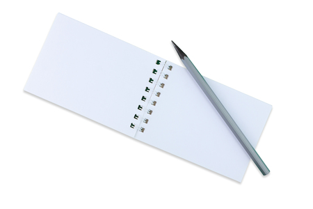 Notebook and a simple pencil on a white background