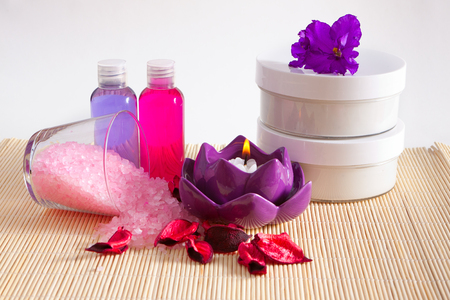cosmetics for bathing, a set of treatments for body Stock Photo