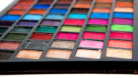 multicolored make up palette, close up shot, background