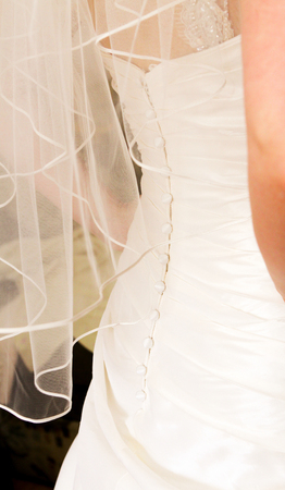 A graceful clasp with many buttons on the wedding dress of the bride. View from the back.
