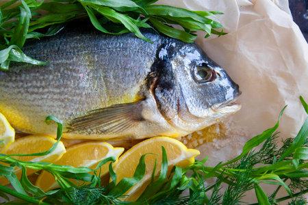 Diet sea gilthead fish prepared for roasting with lemon and fresh herbs closeup