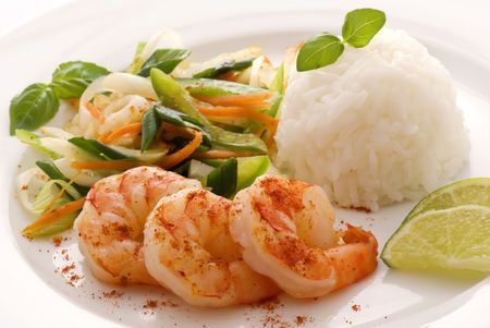 exotically: Prawn with Rice Stock Photo