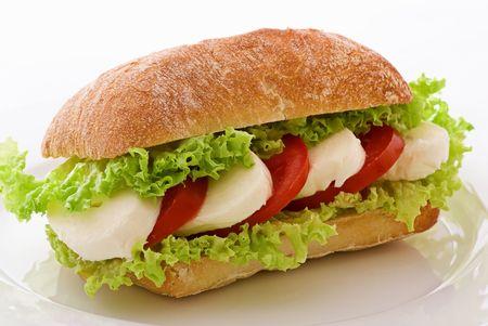 caprese: Tomato Mozzarella Sandwich Stock Photo