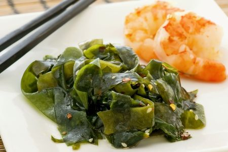 exotically: Seaweed with prawn Stock Photo