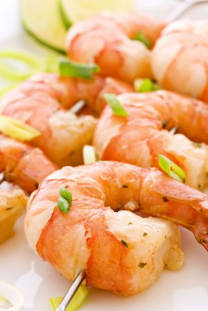 shrimp: Prawn Skewer Stock Photo