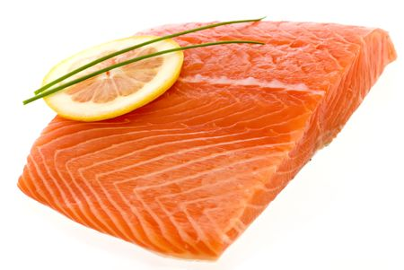 Salmon with a Lemon Slice Stock Photo - 5479796