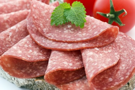 Bread with Salami and Tomato photo