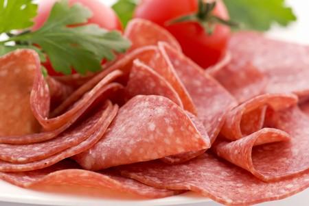 Salami with Tomato Stock Photo - 7650593