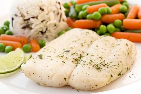 catfish: Siluro con vegetales y arroz  Foto de archivo