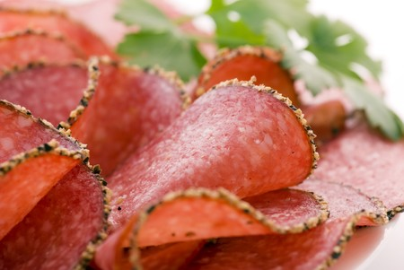 air dried salami: Pepperoni Stock Photo