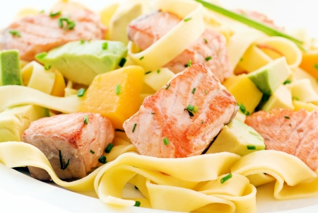 Salmon with Tagliatelle and Fruits photo