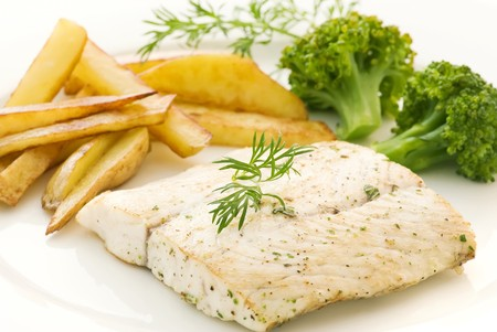 Barramundi Filet with Chips photo