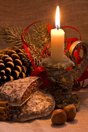 glowing candle: Baroque Christmas Decoration