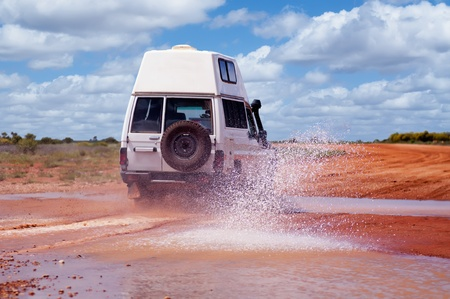 4WD Crossing a Floodway Stock Photo - 8458711
