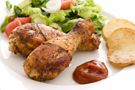Chicken Legs with Salad photo