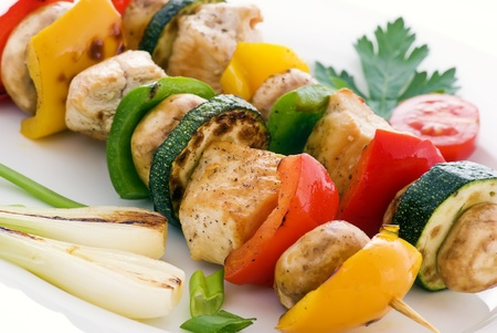 Shashlik with vegetable photo