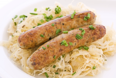 homestyle: Grilled sausage with sauerkraut Stock Photo