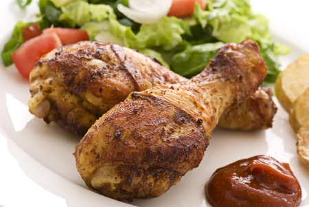 Chicken Legs with Salad Stock Photo - 8487332