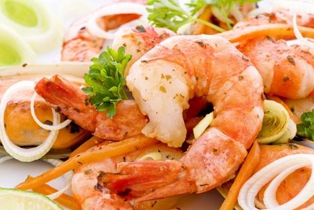 petoncle: Crevettes et les moules