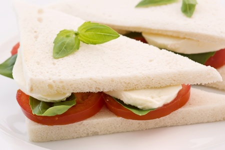 panino: Tomato Mozzarella sandwich Stock Photo