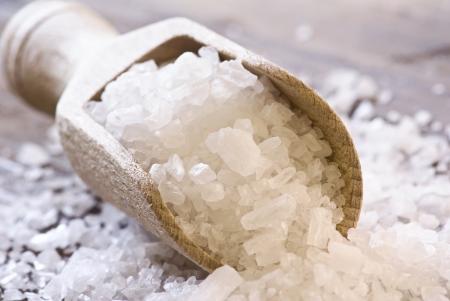 peeling: Sea Salt on a Shovel Stock Photo