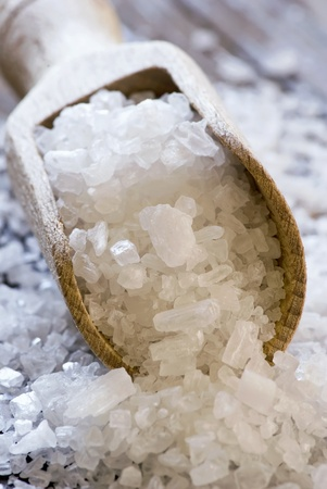 coarse: Sea Salt on a Shovel Stock Photo
