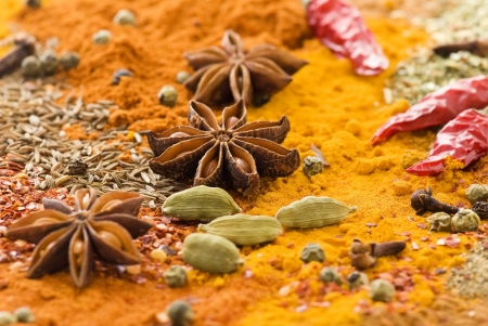 curry spices: Exotically Spice Mix Stock Photo