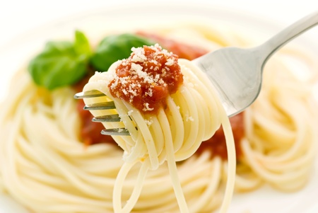 spaghetti sauce: Spaghetti with tomato sauce Stock Photo