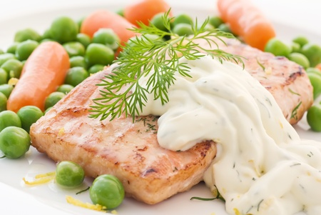 Salmon with vegetables photo