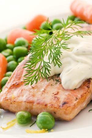 Salmon with vegetable Stock Photo - 9031130