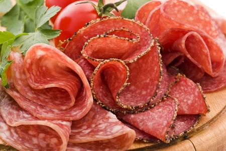 air dried salami: Salami on Cutting Board