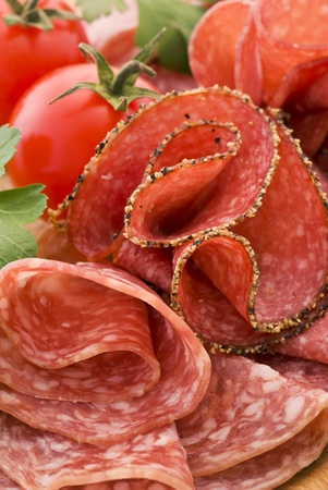 Salami on Cutting Board Stock Photo - 9031212