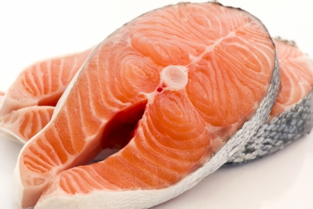 raw fish: Salmon Steak