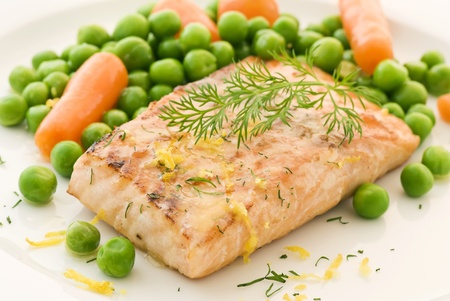 Salmon with vegetable Stock Photo