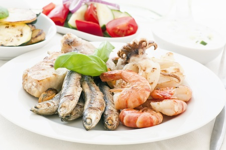 Seafood Platter with Vegetable and Tzatziki photo