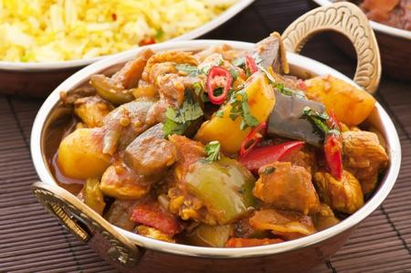 masala: Chichen Vindaloo con arroz Foto de archivo