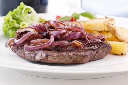 beefsteak: Beefsteak with roasted Onion Rings