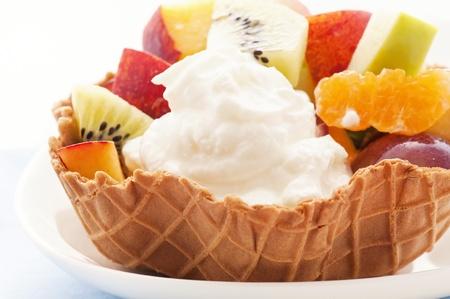 Ice Cream with Fruit Salad photo