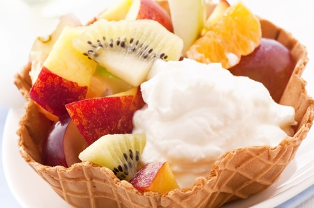 Ice Cream with Fruit Salad photo