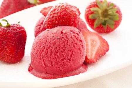 potation: Strawberry ice cream  with Strawberries Stock Photo