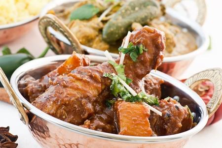 Curry y Vindaloo de pollo Foto de archivo