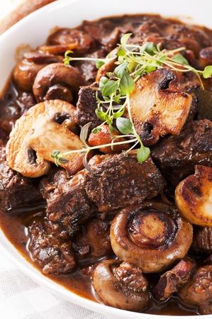 braised mushrooms: Boeuf Bourguignon