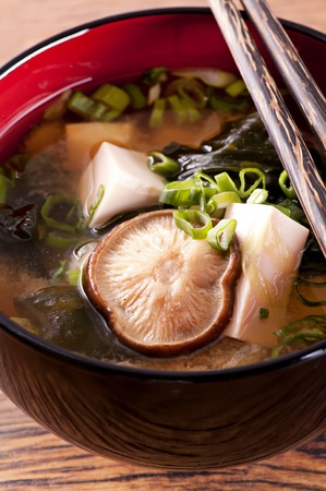 chopstick: Miso Soup Stock Photo