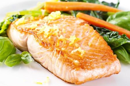 grilled fish: Salmon Stock Photo
